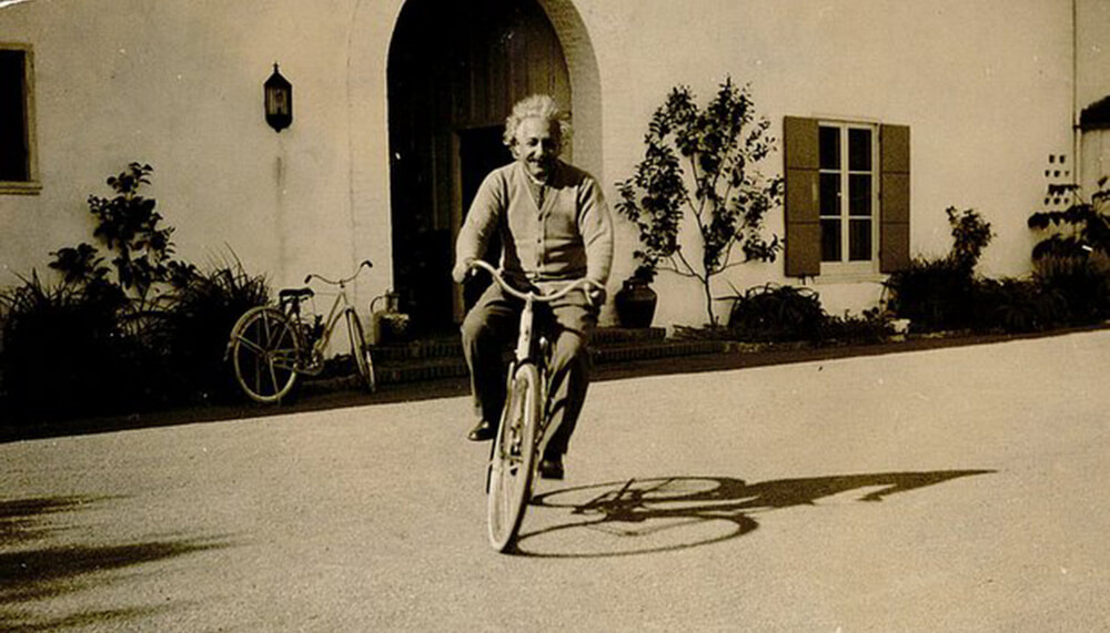 Albert Einstein on a bike